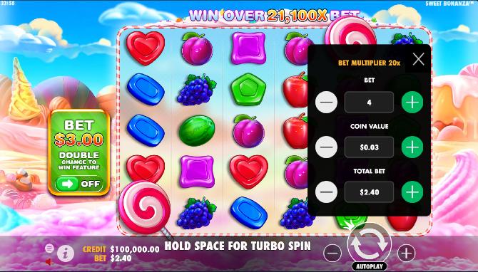 sweet bonanza slot machine intro screen
