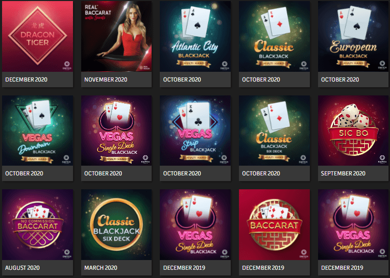 Microgaming's recently released table games