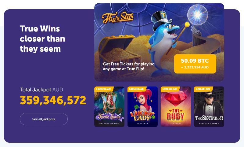 Australian Dollar Jackpot at TrueFlip Casino